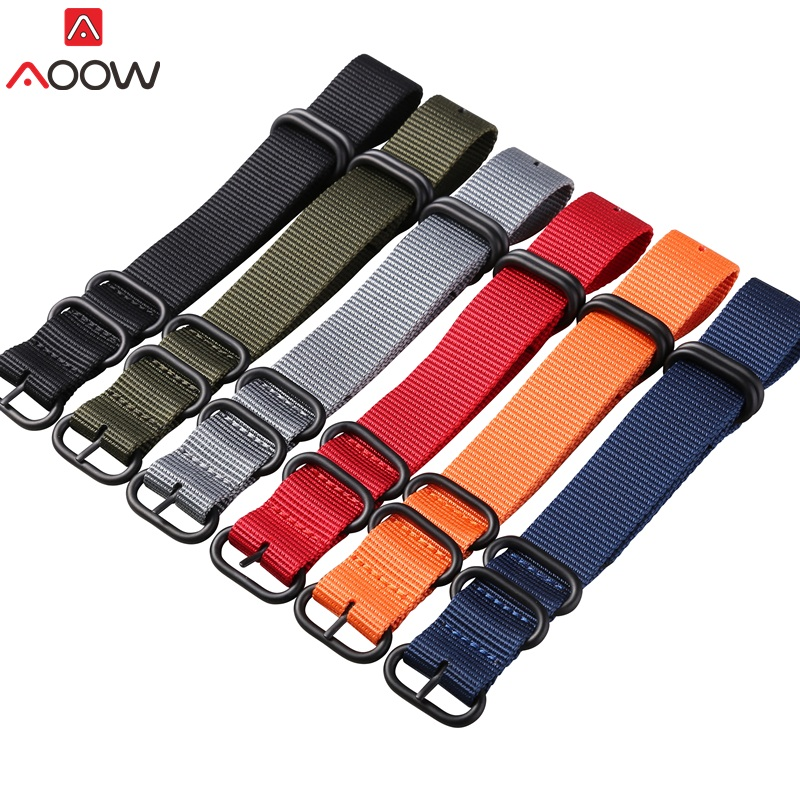 AOOW Heavy Duty Nylon Watchband NATO ZULU Strap 18mm 20mm 22mm 24mm Canvas Replacement Watch Band High Quality new high quality watchband 24mm nato multicolor 4 ring nylon military diver s watch strap