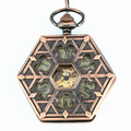 2015 New Arrival Vintage hexagon hollow mechanical pocket watches with chain for men and women retro style fob watch