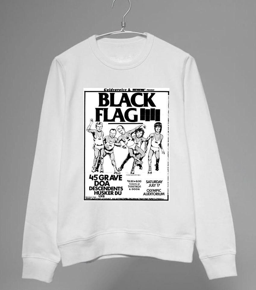 Black flag t shirt vintage - Black Flag Punk Fashion No Cap Hoodie Round Neck Sweatshirt Vintage Casual Style China