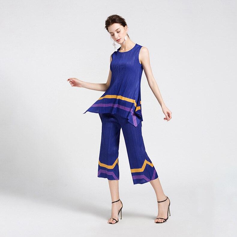 2018 Ensemble Ensembles Droit Femmes D'été Pantalon La Royal Blue Plis De Femelle Tops Costume Mode Deux Sans Pièces Bref Miyake Nouvelle Taille Plus Manches 0WSR8qaE0