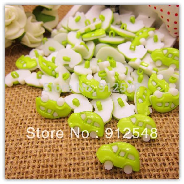 18mm*12mm 100pcs green Car plastic buttons flower buttons for children garment ,c008