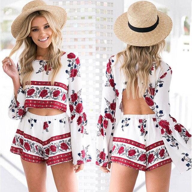 514c4433241a Fashion Women Summer Beach Jumpsuit Clubwear Loose Casual Print Playsuit  Romper Short Pants+Backless Tops Set