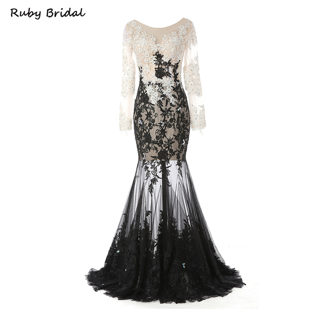 R7205 Long Mermaid Champagne Top Black Skirt Appliques Beaded Evening Dresses Sexy Long Sleeves Prom Party Gown R7205