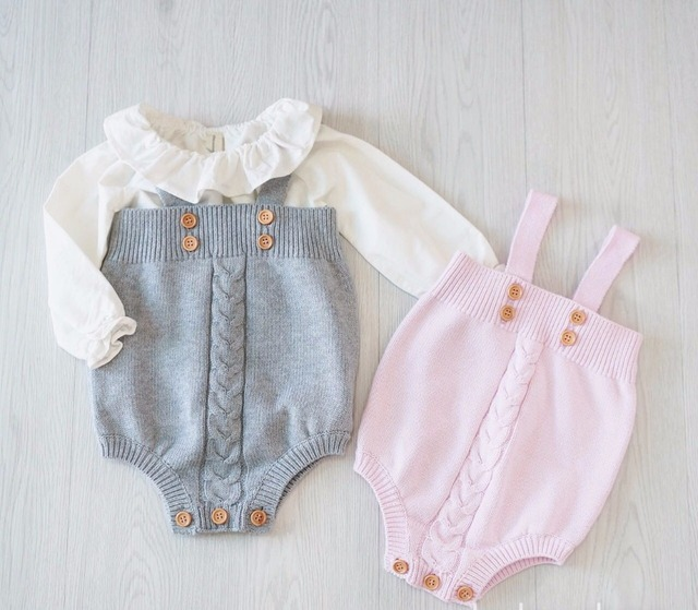 2017 spring Hot Children Clothings  Toddler Baby Boy&girl Overalls Button Rompers Princess Kids Clothes pink/grey 0-18m