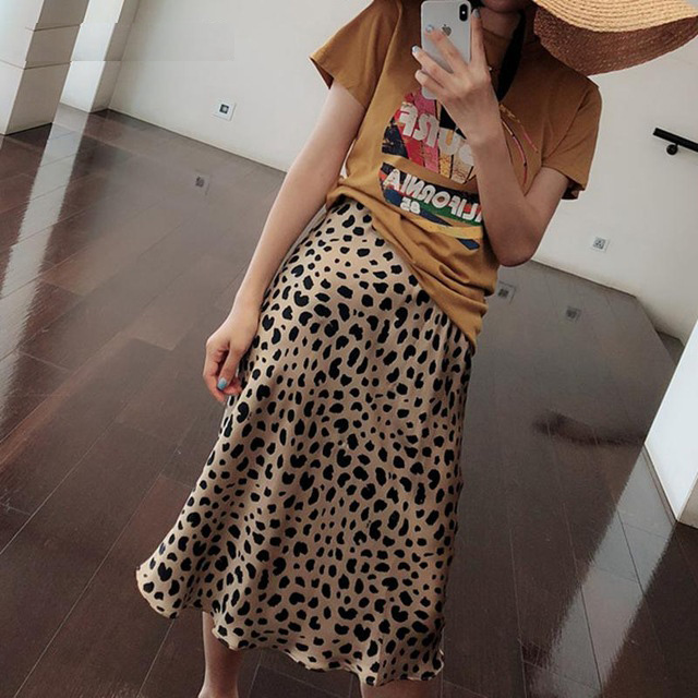 2018 Summer Vintage Womens Skirt Empire Leopard Print Punk Rock Korean Style Skirts Boho Streetwear Jupe Femme
