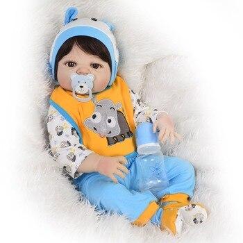 Newborn doll 57 cm Realistic Full Silicone  Reborn Baby boy Alive Dolls Kids Xmas Gifts bebes reborn corpo de silicone inteiro