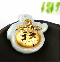 Hot sale 100% Natural Jadeite new 24K Yellow gold Peach Pendant With Certificate