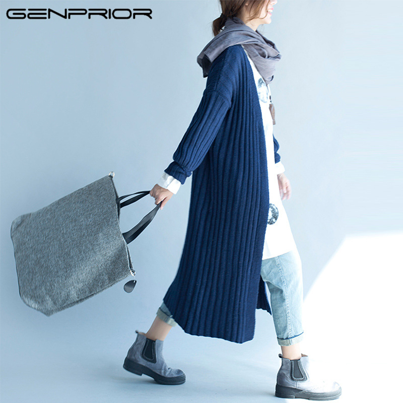 2017 Autumn Winter New Large Plus Size Women Knitted Soft Wool Long Cardigan Long-sleeved Striped Jacket Jumper Women Sweater