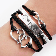 hot selling vintage multi-layer braided handmade heart bracelet  gift for girl infinite