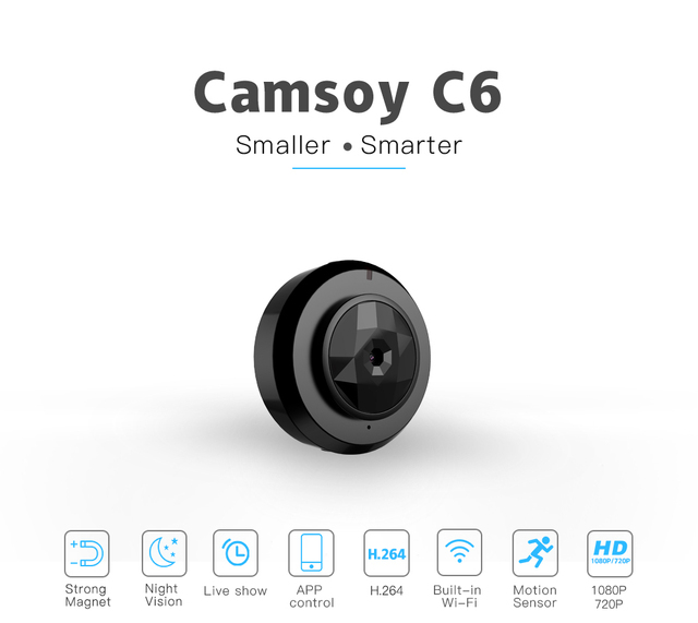 C6 Camsoy Cookycam Micro WIFI Mini Camera HD 720P With Smartphone App And Night Vision IP 1