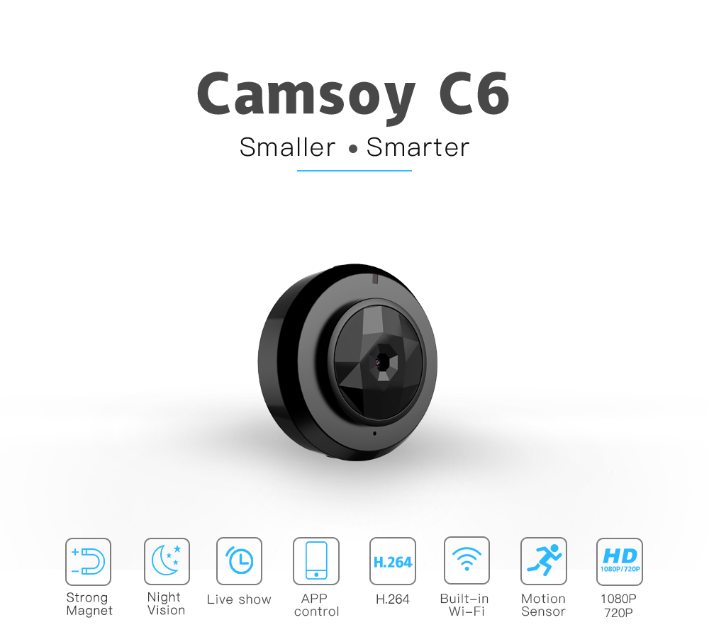 Camsoy Cookycam C6 Mini Camera HD 720P With Micro WIFI Smartphone App And Night Vision IP Home Security Video Cam Camcorder image