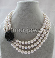 P6292 17 19 3row 10mm natural white round freshwater pearl necklace GP clasp