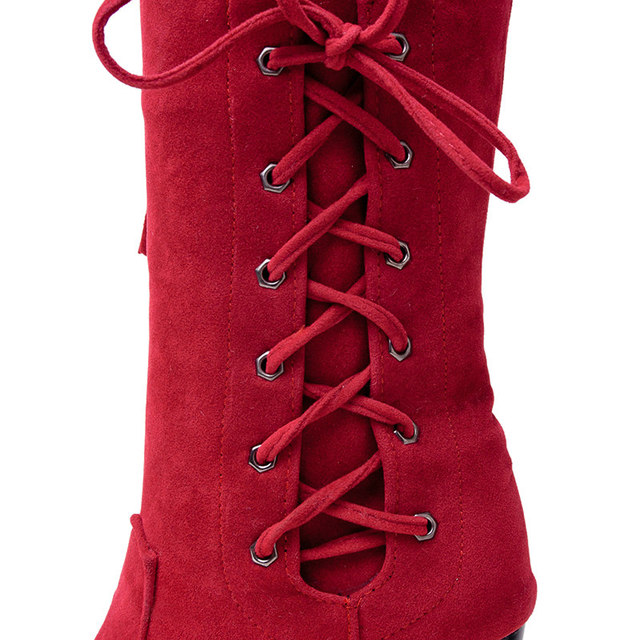 Winter Square High Heel Woman Fringe Mid Calf Boots Fashion Side Zipper Calf Boots Woman Black Red Brown Gray 5