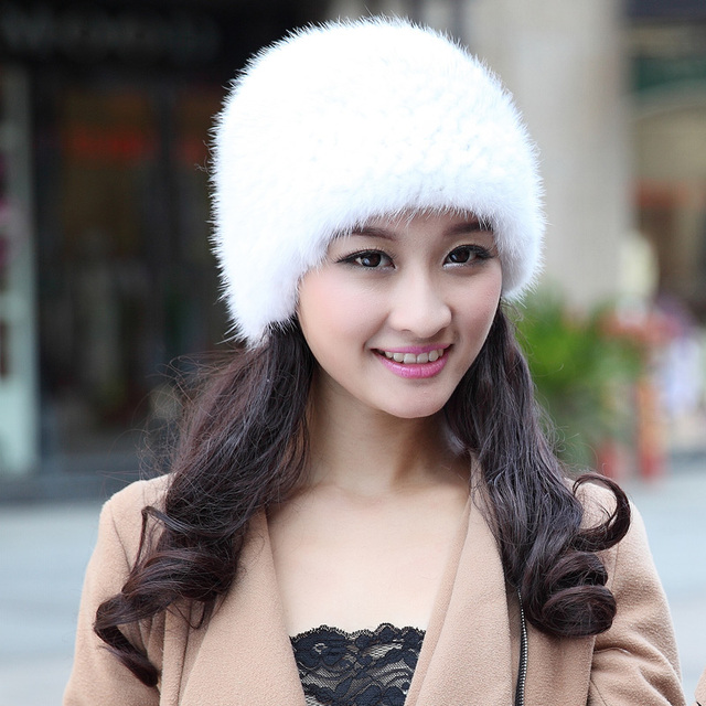 Cheap Women's marten hat mink knitted millinery brief thermal thickening fur hat white