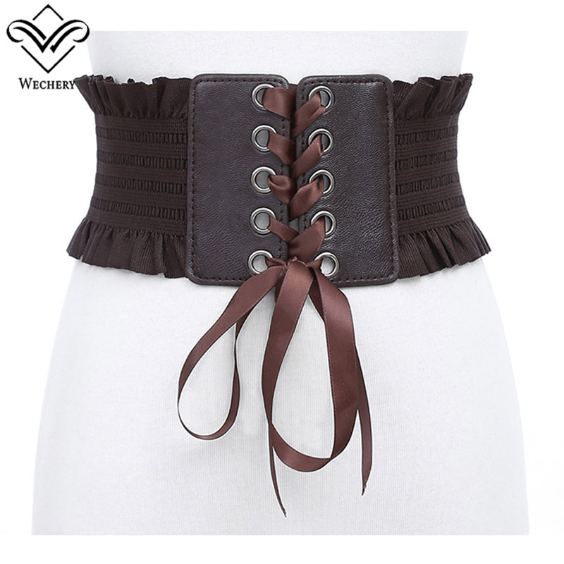 Wechery Waist Trainer Women Gothic Underbust   Bustiers   Lace Up Tummy Slimming Belly Belt   Corset   Outside Sexy Tops Belts Waister