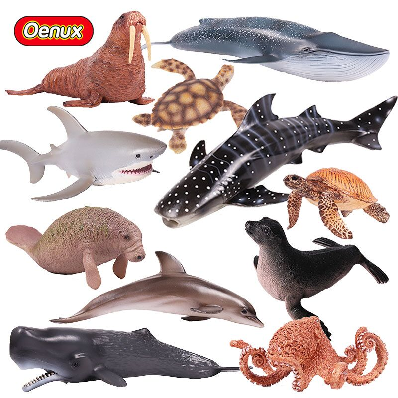 Oenux Realistic Aquatic Creatures Animals Action Figures Sea Life Shark Whale Dolphin Fish Turtles Solid PVC Model Toy For Kids mr froger carcharodon megalodon model giant tooth shark sphyrna aquatic creatures wild animals zoo modeling plastic sea lift toy