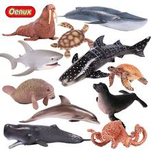 Oenux Realistic Aquatic Creatures Animals Action Figures Sea Life Shark Whale Dolphin Fish Turtles Solid PVC Model Toy For Kids(China)