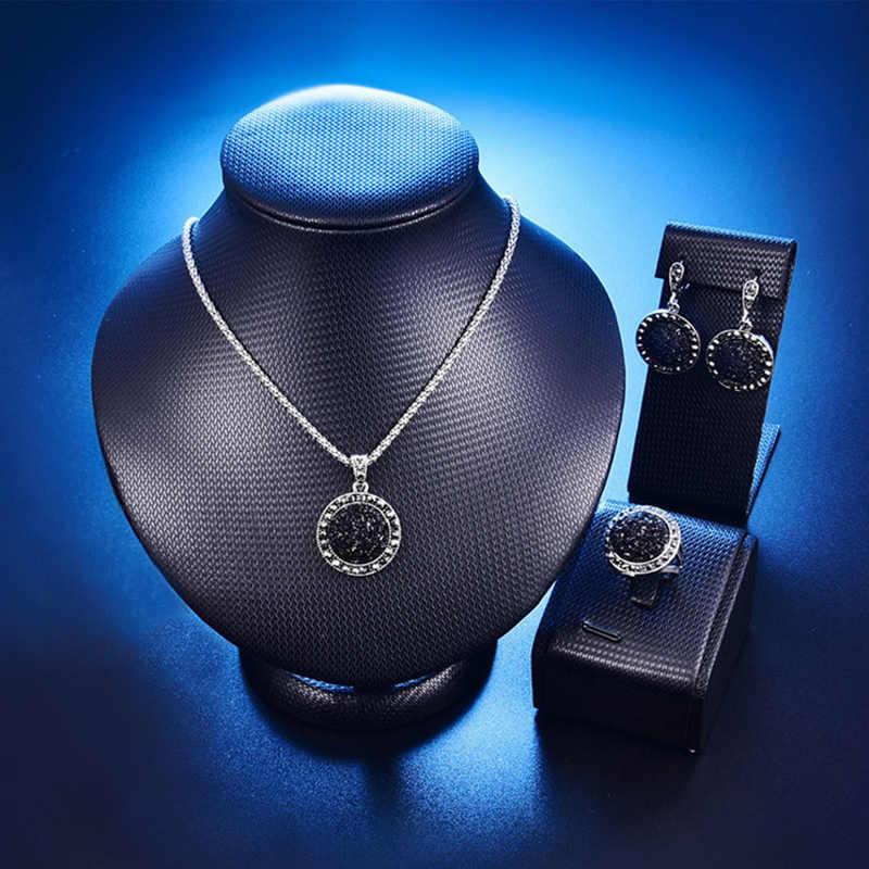 Kryształowy cyrkon kamień okrągły Party okrągły zestaw biżuterii czarny niebieski kolczyk 1 zestaw biały pierścionek żywica koło Macadam bransoletka naszyjnik