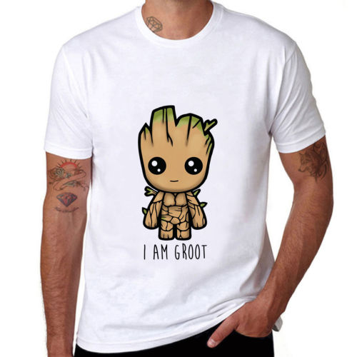 2018 Dropshipping Fashion Guardians of the Galaxy Funny I AM GROOT Mens Tops T-shirt Short Sleeve Tee