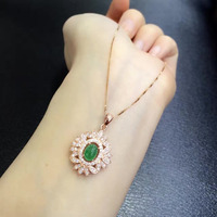 Collier Qi Xuan_Trendy Jewelry_Colombia Green Stone Fashion Necklaces_Rose Gold Color Pendant Necklaces_Factory Directly Sales
