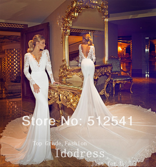 Backless V Neck Trumpet Mermaid Chaple Train 2015 Wedding Dresses Long Sleeve Appluqe Chiffon Bridal Gown