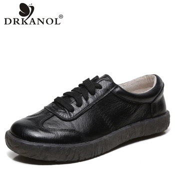 DRKANOL 2020 New Spring Women Flat Shoes Lace Up Round Toe Genuine Leather Flats Women Casual Shoes Soft Bottom Ladies Shoes genuine leather women flats shoes new fashion high quality flat heel round toe shoes woman spring summer women casual shoes page 8