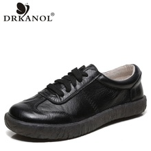 DRKANOL 2021 New Spring Women Flat Shoes Lace Up Round Toe Genuine Leather Flats Women Casual Shoes Soft Bottom Ladies Shoes