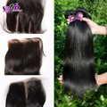 Cheap 4Pcs/Lot 7A Peruvian Silky Straight Human Hair Bundle With Top Lace Closure Peruvian virgin Hair Middle/Free/3 way Closure