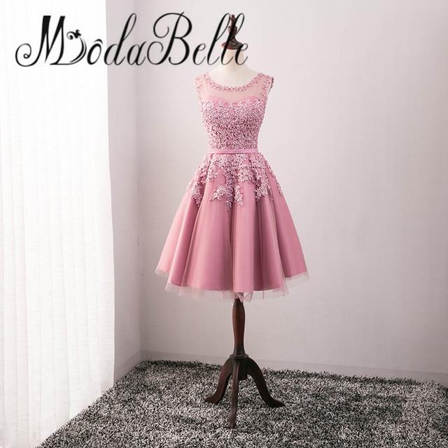 Modabelle Tüll Spitze Applique Rosa Mini Cocktailkleid 2017 Perle ...