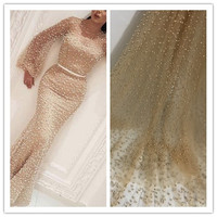 Gold African Lace Fabric With beads pearls High Quality African Tulle French Lace Fabric For Nigerian Wedding