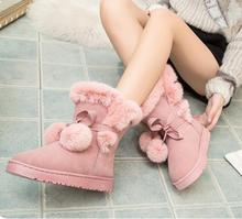 2016 Hot Sale Winter Women Boots Lace-Up Fur Ankle Snow Boots Warm Ball Flats Casual Platform Shoes Woman Flock Creepers