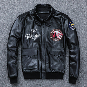 Image 2 - MAPLESTEED Bomber Flight Jacket Men 100% Natural Calf Skin Jacket Soft Air Force Pilot Leather Jackets Mens Coat Autumn M194