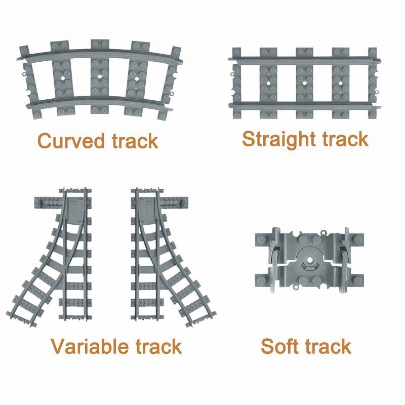 City Trains Train Track Rail Straight & Curved Rails Building Blocks Set Bricks Model Kids Toys Compatible Legoe