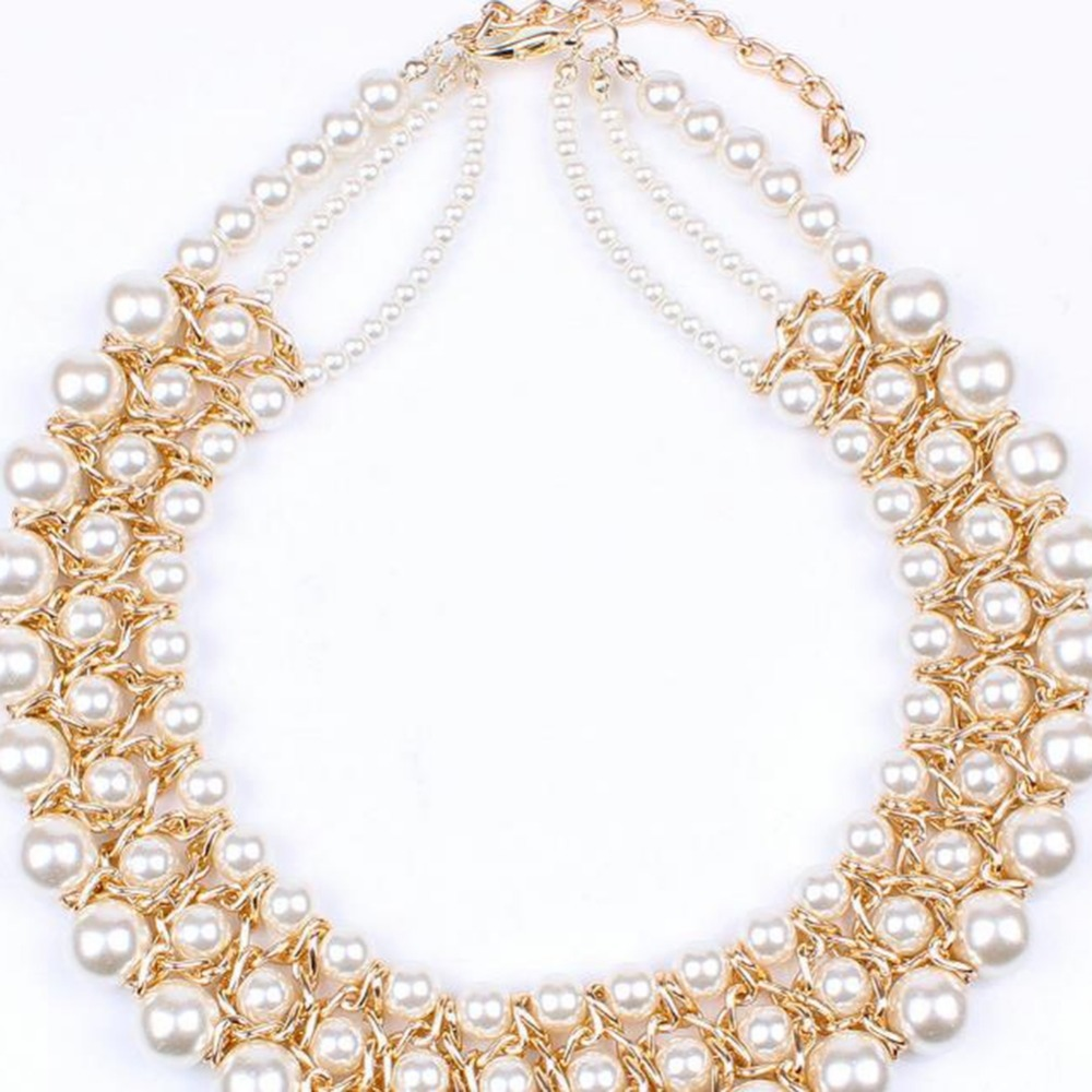 e5eb17b76 Aliexpress.com : Buy IMIXLOT Vintage Gold Color Three Layer Simulated Big Pearl  Necklaces Chunky Bib Statement Collar Charm Jewelry from Reliable pearl ...