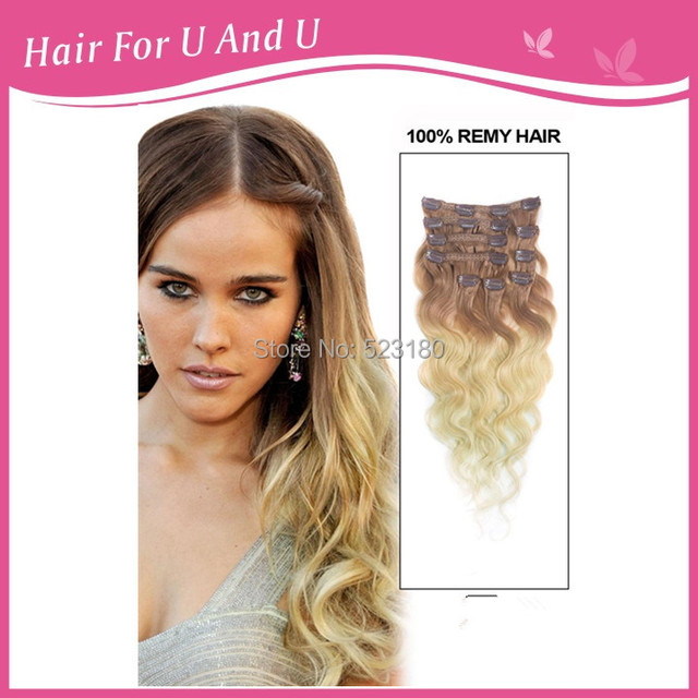 Party Gift 8pcsset Peruvian Body Wave Ombre Clip In Hair Human Hair