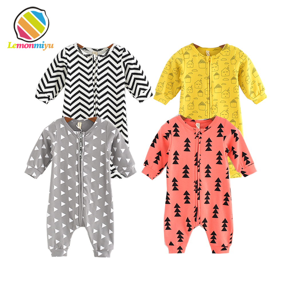Lemonmiyu Cotton Baby Rompers Long Sleeve Newborn Pajamas Animal Print Infant Boy Girl One-piece Spring Autumn Baby Clothes baby clothing 2017 new newborn baby boy girl rompers toddler clothes long sleeve infant product autumn winter underwear pajamas
