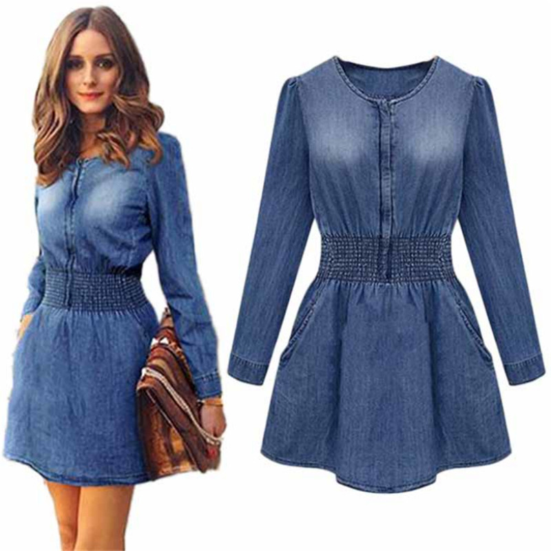 2017 New Vintage Spring Women Long Sleeved Slim Casual Denim Jeans Party Mini Dress