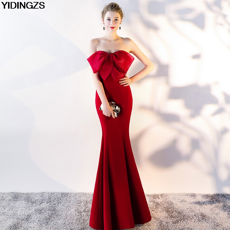 YIDINGZS Strapless   Bridesmaid     Dress   2019 Real Simple Wedding Party   Dress   Black/Green/Pink