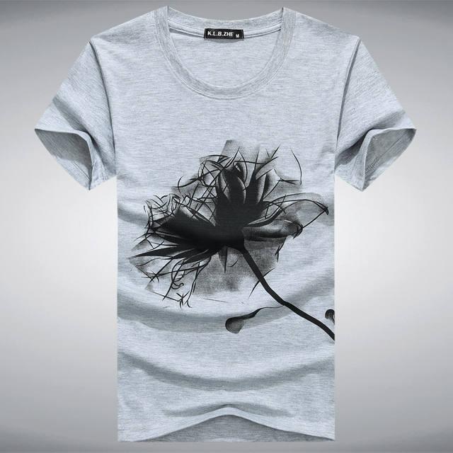5XL Men O-neck T shirt 2017 Summer fashion Printed pattern mens slim t shirt Plus size casual cotton t shirt men for boy