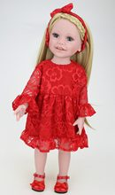 NPK DOLL 18 inch American Dolls Girl Reborn Baby Blonde Long Hair Red Dress Beautiful Princess Hairband Bath Toys Birthday Gift(China)