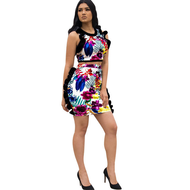 fc2dc2977d Womens Two Piece Sets 2018 Summer Ruffle Crop Top and Bodycon Mini Skirt  Set Floral Print