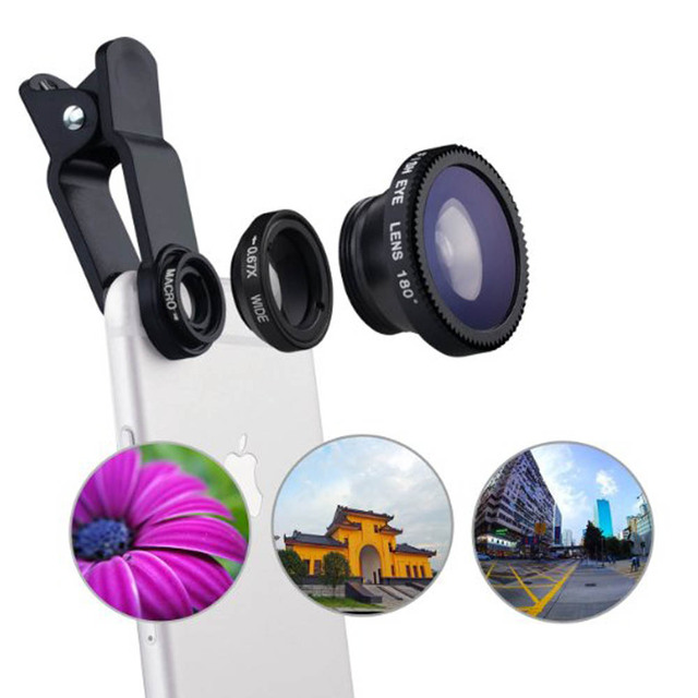 FisheyeLens 3 in 1 mobile phone clip lenses fish eye wide angle macro camera lens for iphone 6s plus 5s/5 xiaomi huawei lenovoUM