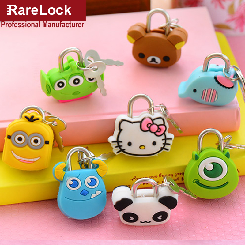 Rarelock Mini Cartoon Padlock Same for Men Women Pair with Travelling Sport Luggage Bag Backpack Handbag DIY Jewerly Box Lock