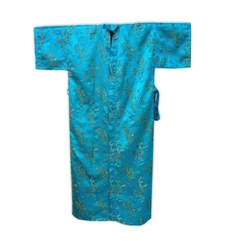 New Navy Blue Chinese Men Silk Satin Robe Traditional Kimono Kaftan Gown  Lounge Sleepwear Dragon S M L XL XXL XXXL-in Robes from Underwear    Sleepwears on ... be05bf197