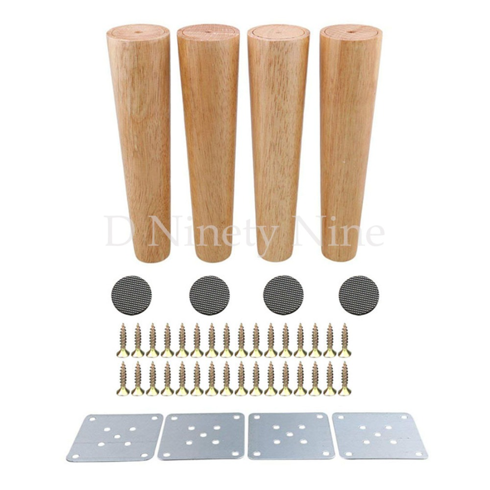 250mm Height Wood Color Tapered Reliable Wood Furniture Cabinets Legs Sofa Feets Pack of 4 bqlzr 180x58x35mm cone black eucalyptus material sofa chairs wooden replacement furniture legs pack of 4