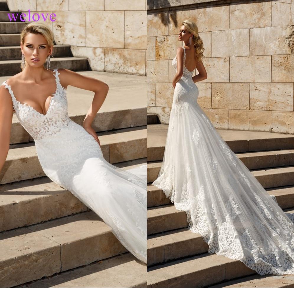 Lace Mermaid Wedding Dresses 2019 Custom Made Appliques Fishtail Wedding Gown Vestido De Noiva Vestidos De Fiesta De Noche