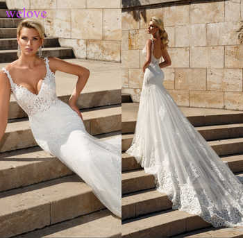 Lace Mermaid Wedding Dresses 2019 Custom Made Appliques fishtail Wedding Gown Vestido de noiva vestidos de fiesta de noche - DISCOUNT ITEM  20% OFF All Category