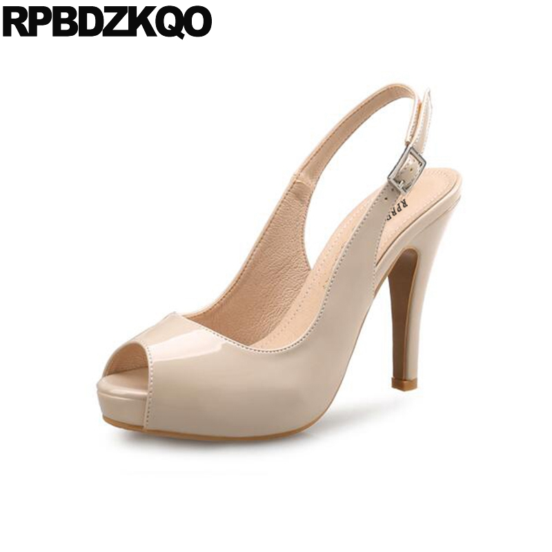 Plus Size Ultra Peep Toe Platform High Heels Stiletto Nude Extreme Ladies  Summer Red Patent Shoes Famous Slingback Super 11 43 44c139219108