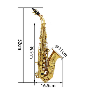 Image 3 - LADE Brass Golden Carve Pattern Bb Bend Althorn Soprano Saxophone Sax Pearl White Shell Buttons Wind Instrument