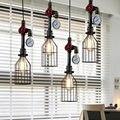 Tubulação de água Do Vintage Steampunk pingente luzes para sala de jantar Bar ferrugem vermelho decoração de casa Americana industrial lâmpada sótão pingente